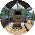 Outdoor Fireplace and TV in Louisville